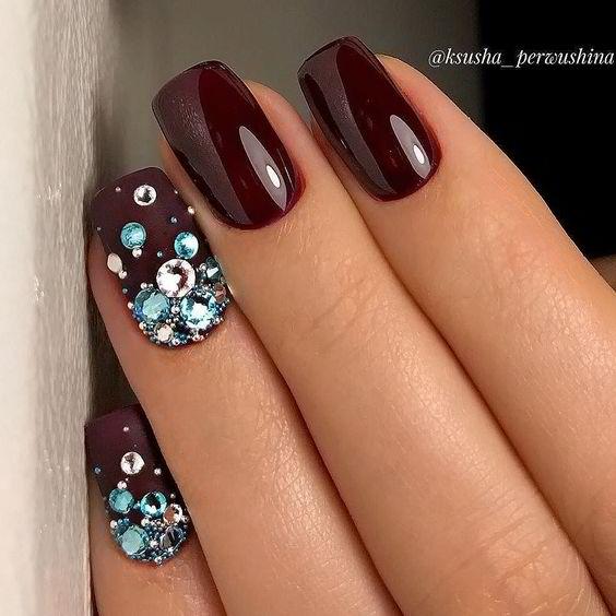 Burgundy nails with rhinestones