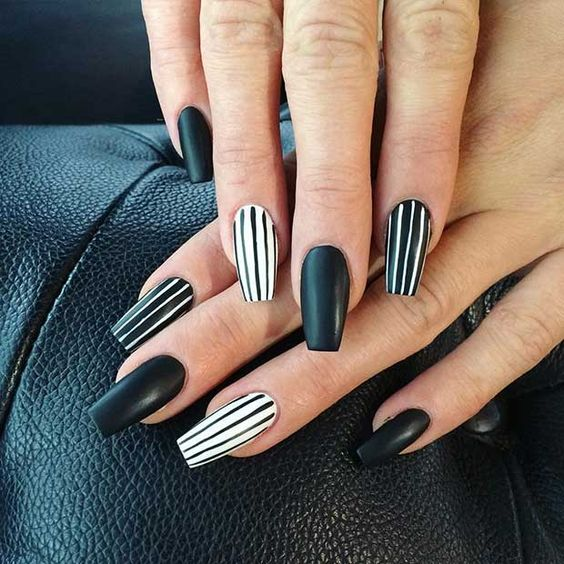 Simple matte striped black and white nails