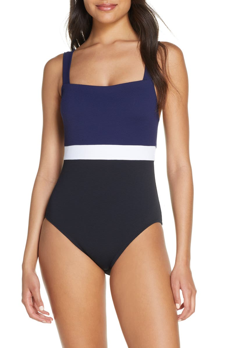 Colorblock one piece swimsuit for long torso and short legs
