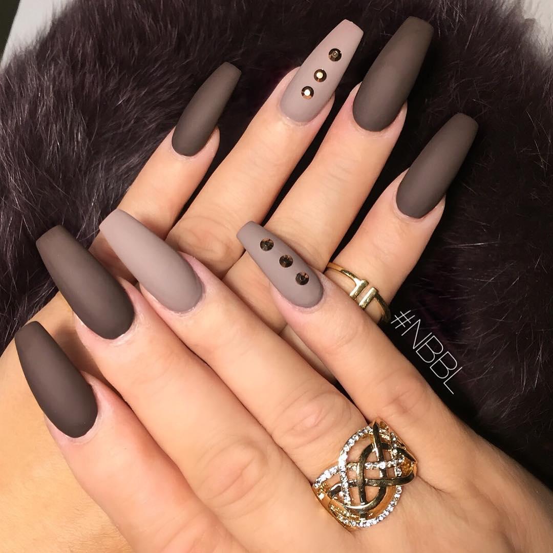 Dark mate gel nails with rhinestones