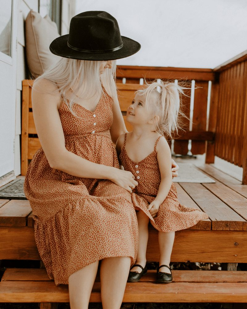 Brown dress mommy and me outfit