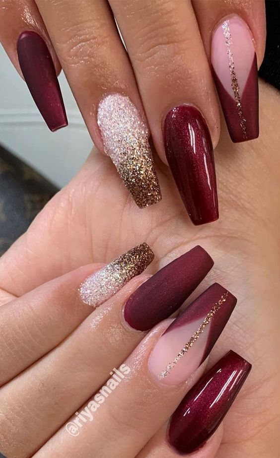 Burgundy nails with white and gold glitter ombre