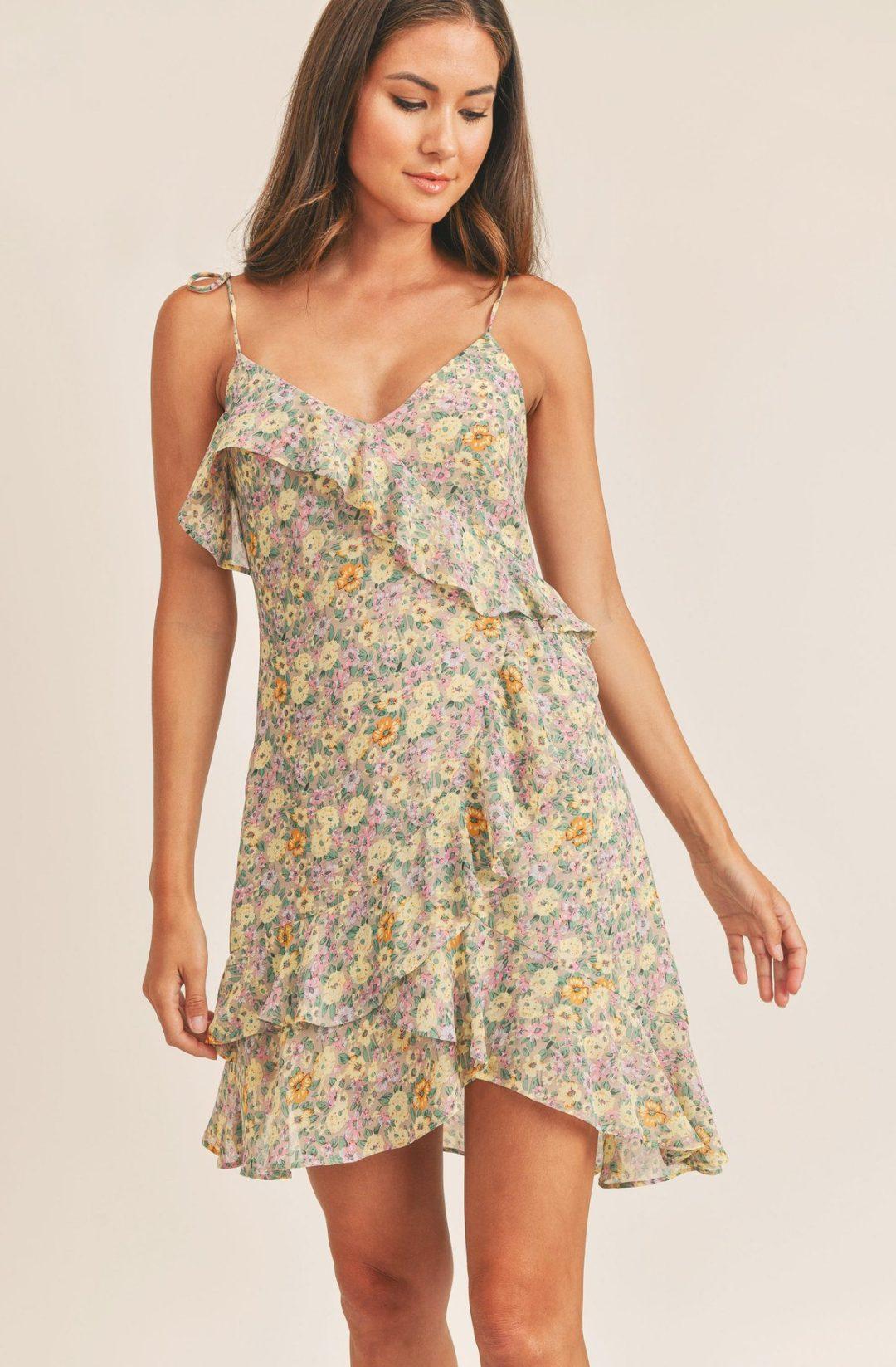 Dainty ruffled floral mini dress