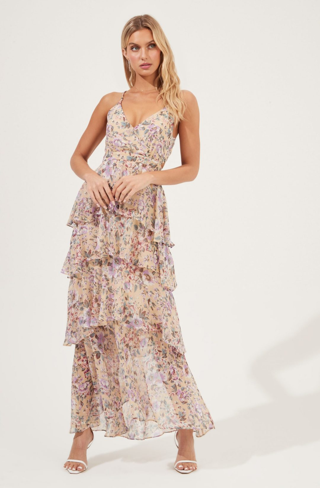 Floral ruffled layer maxi dress fordate night dresses