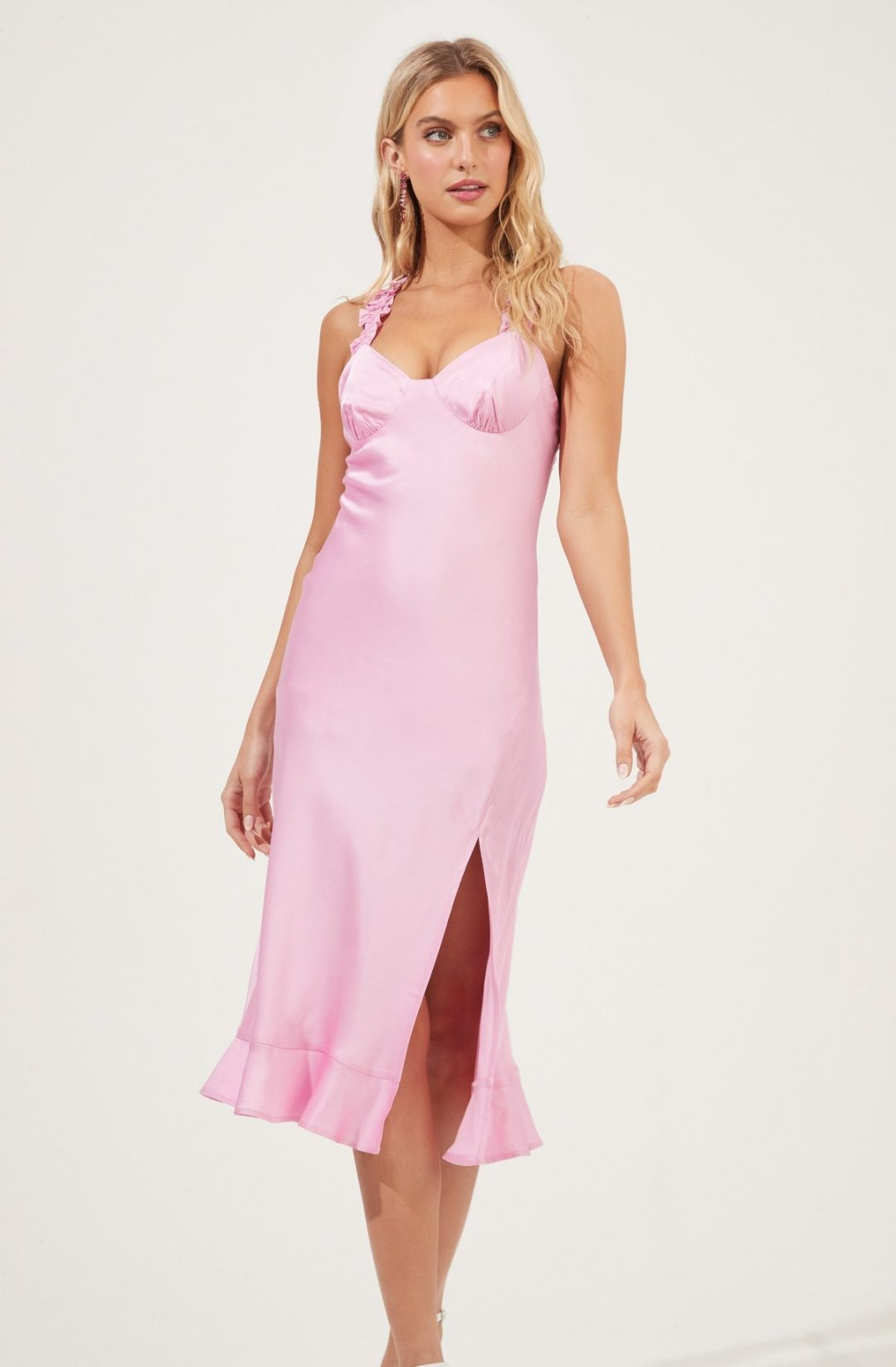 Satin pink midi dress with slit for date night dresses