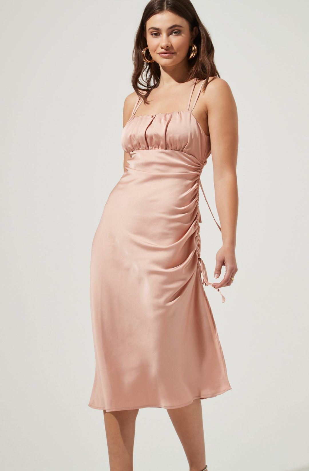 Dusty pink satin runched midi dress