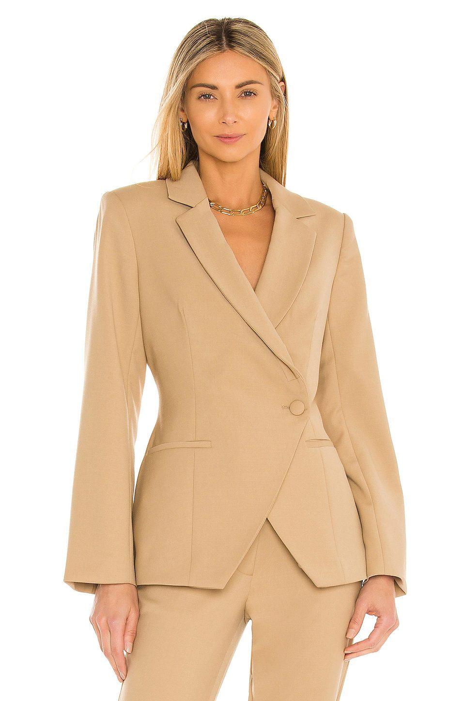 Simple beige blazer with one button
