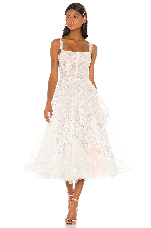 Corset-type bridal dress with glitter