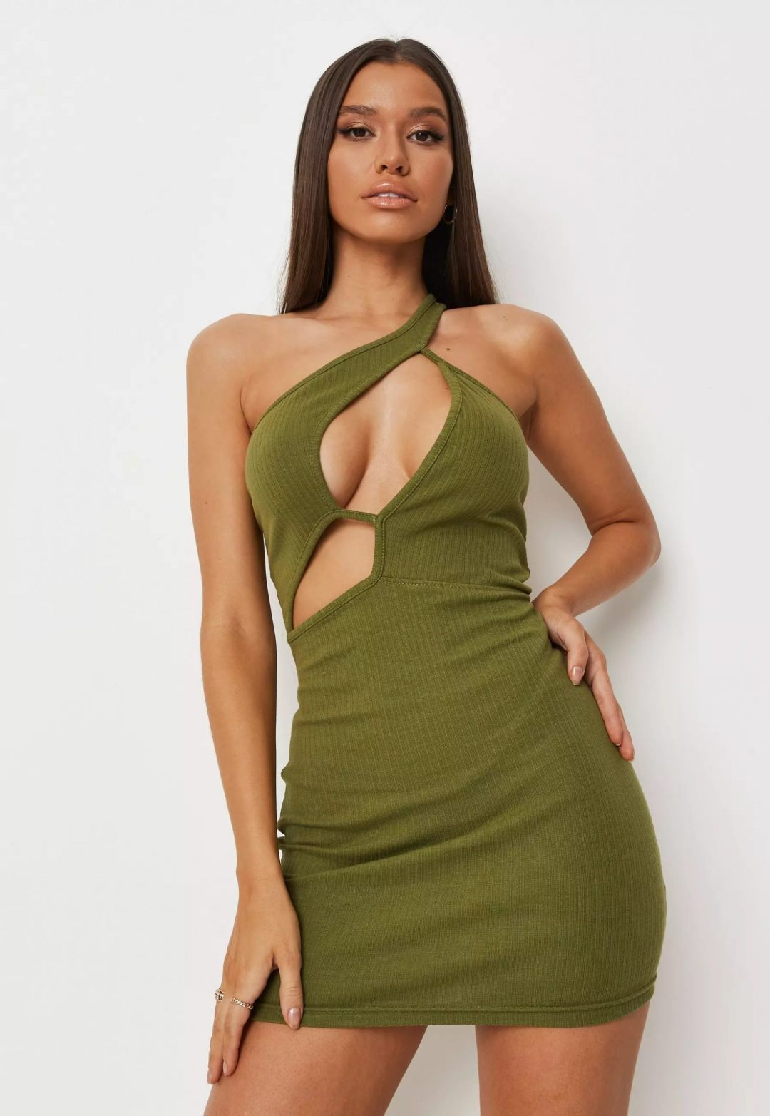 Sexy green cut-out dress for aesthetic outfits