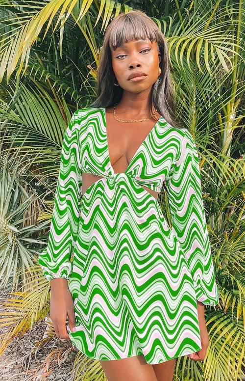 y2k kıyafeti için saykodelik dalgalı yeşil kesim elbise