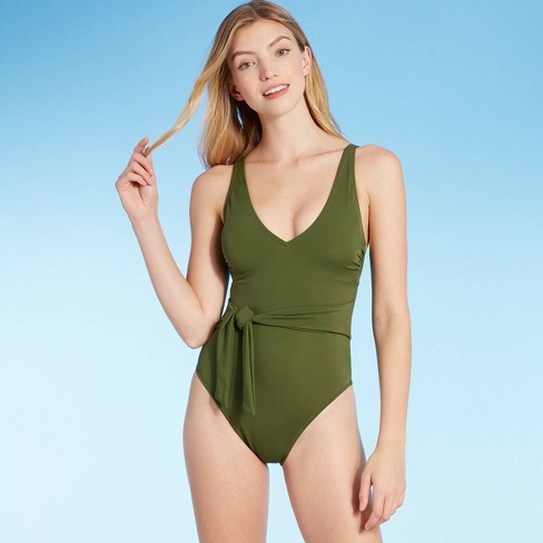 Green one piece with tie on waist for long torso and short legs
