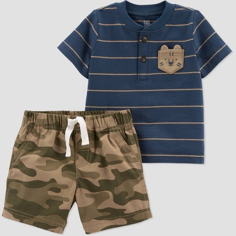 Blue polo shirt and camouflage pants set outfit for baby boys