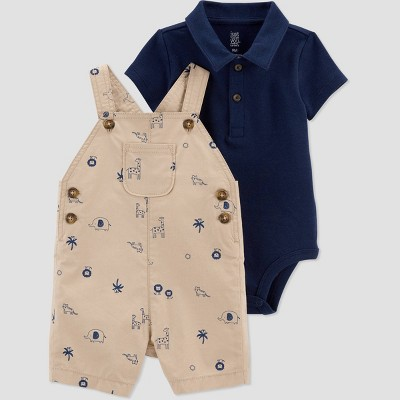 Cute beige and navy blue polo short and overalls set for toddlers