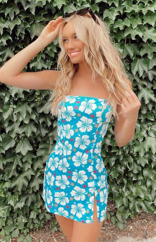 Sexy hawaiian bodycon dress for aesthetic outfits