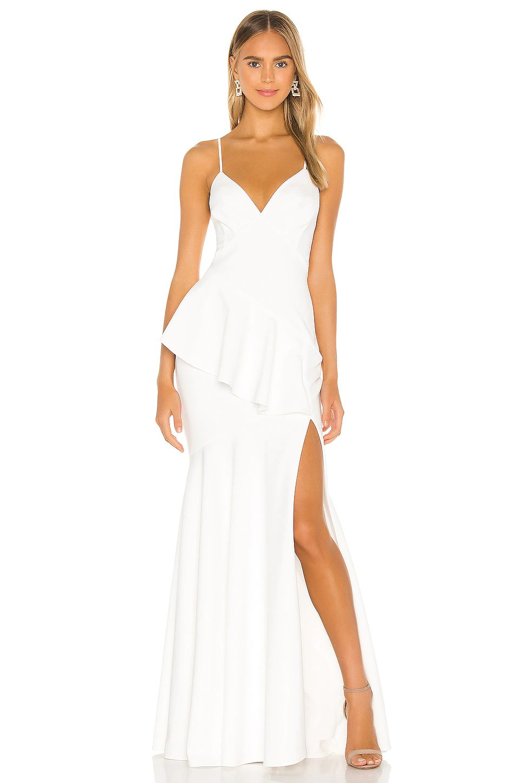 Peplum type bridal dress with high thigh slit