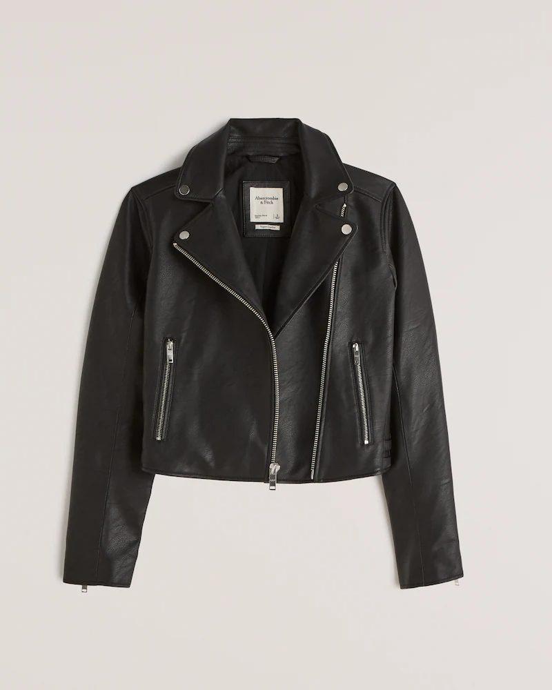 Black faux leather jacket for minimalist french capsule wardrobe