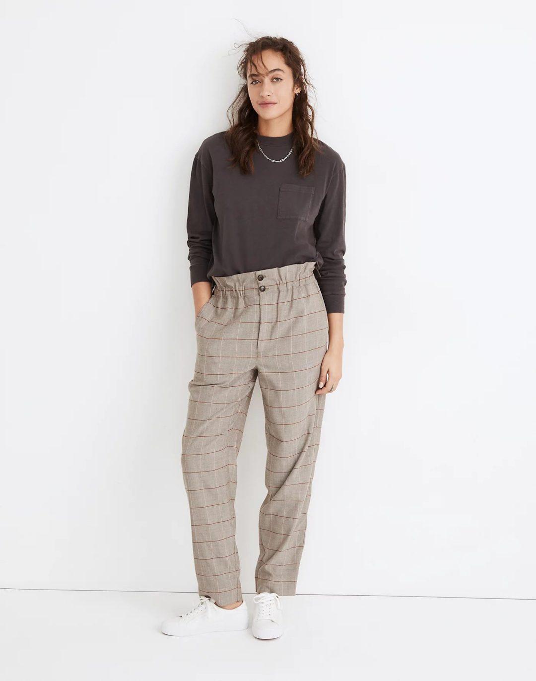Tartan tailored pants with grey sweatshirt