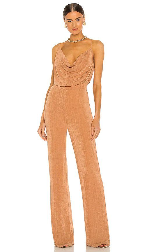 Champagne jumpsuit wedding guest outfit