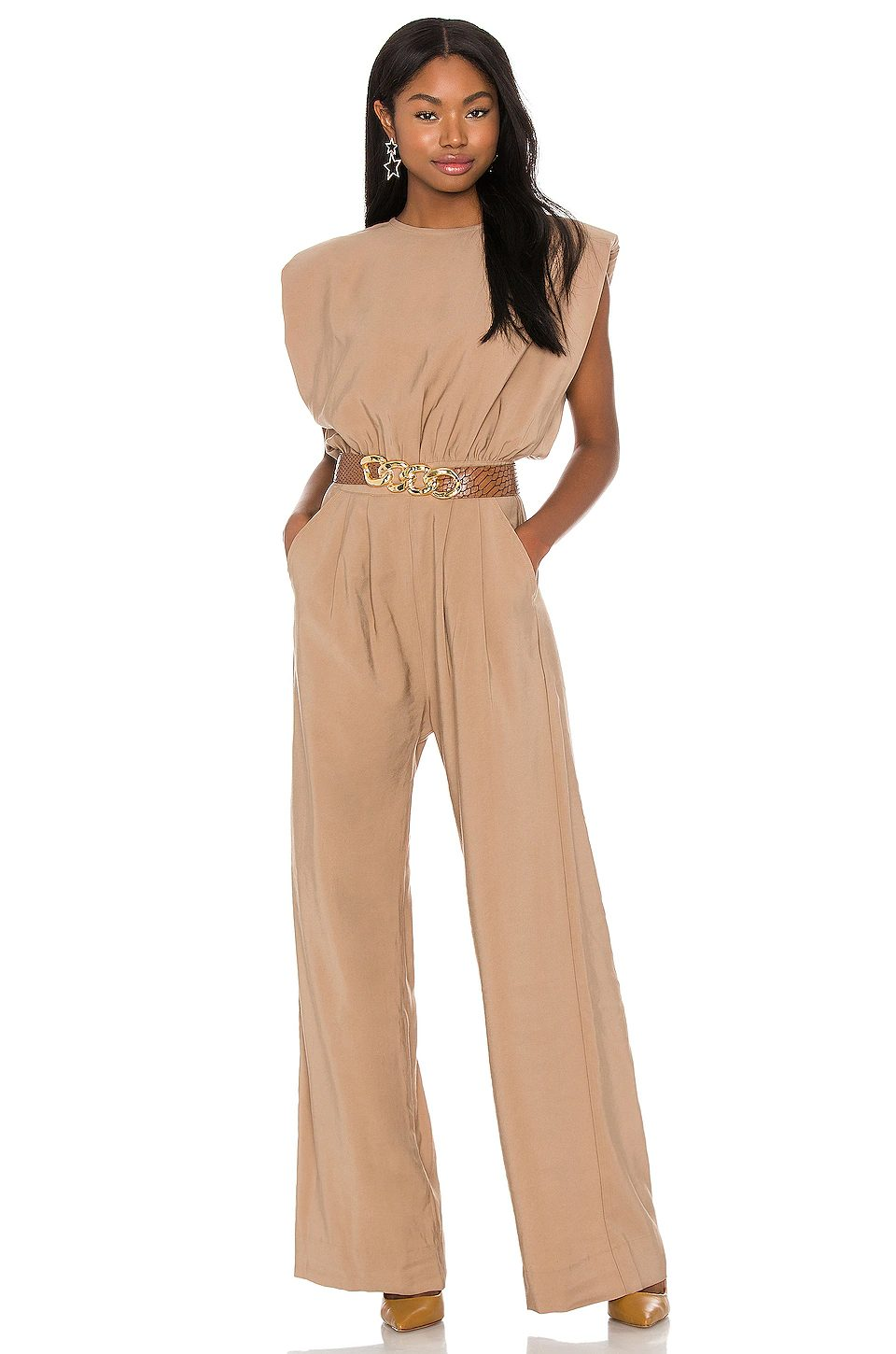 Beige jumpsuit for wedding guest outfit