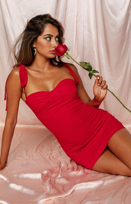 Sultry bustier red dress