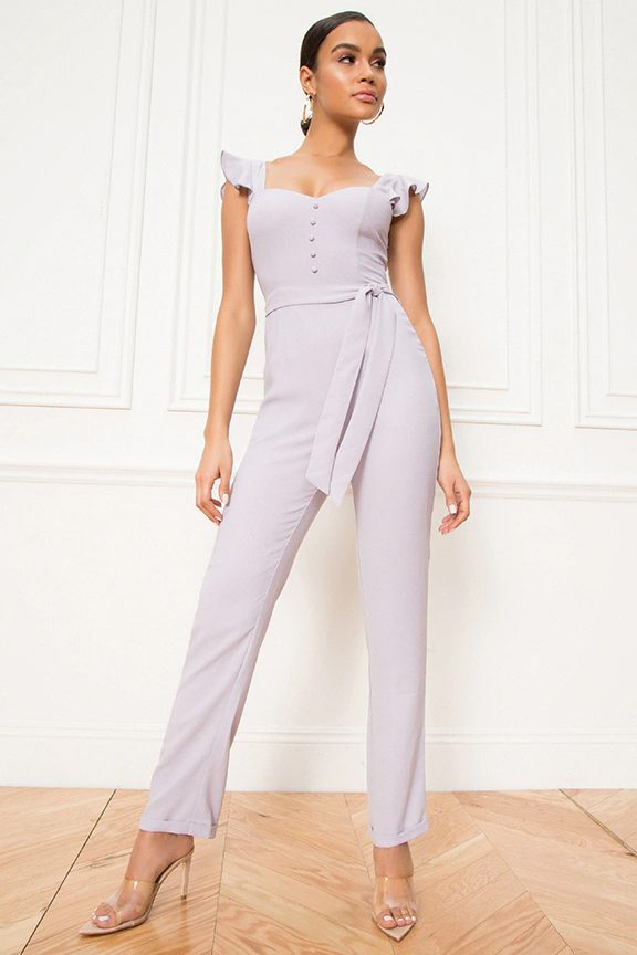 Lilac jumpsuit for wedding guest outfit