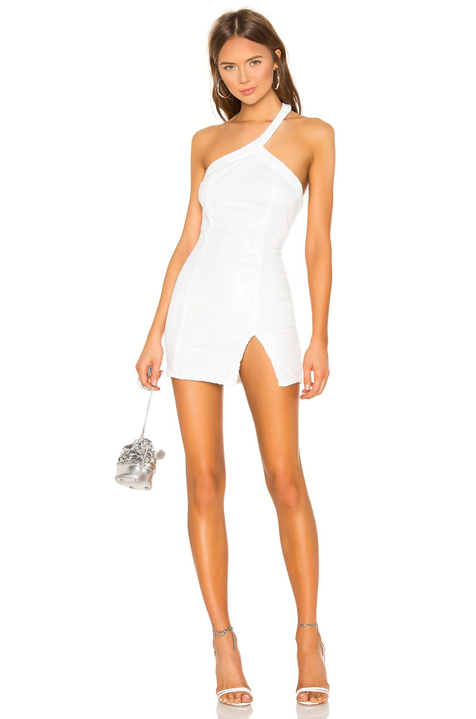 Sexy white one-shoulder dress