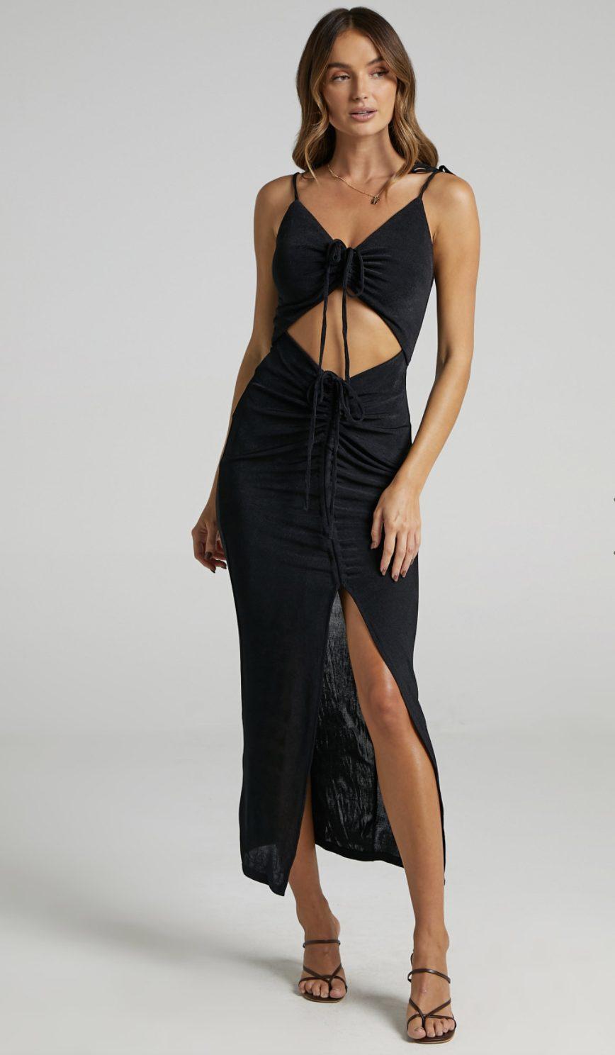 Black cut out detail dress