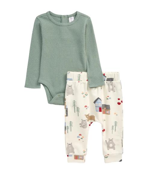 Sage green sweatshirt and pajamas set for toddlers