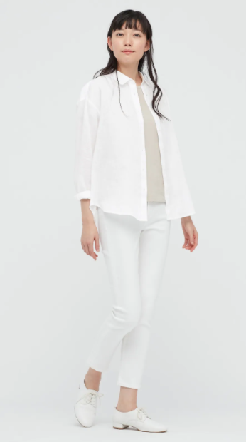 Plain white long-sleeved linen top from Uniqlo