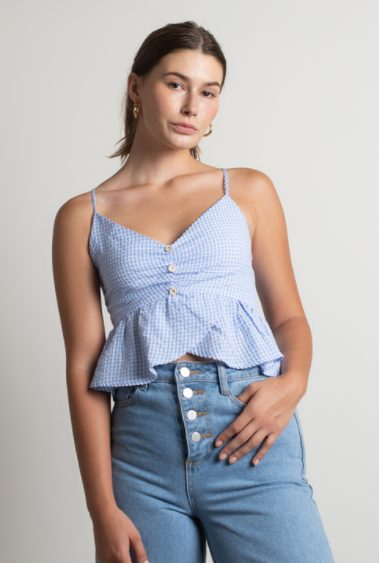 Blue printed cami top with buttons