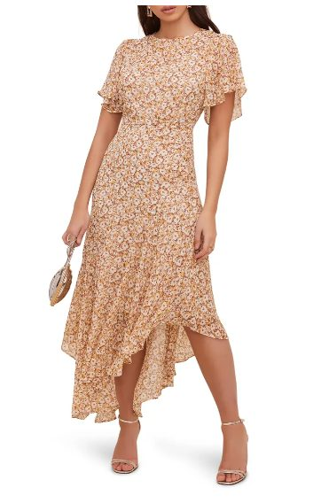 Patterned dress wedding guest outfit