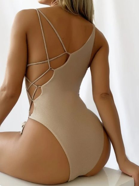 Sexy lace up one side swimsuit from Shein in the color khaki