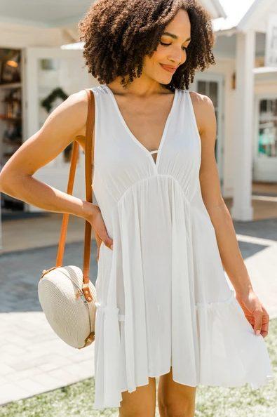 Dainty white sleeveless dress