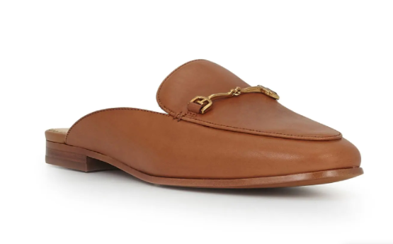 Brown camel mules for minimalist french capsule wardrobe