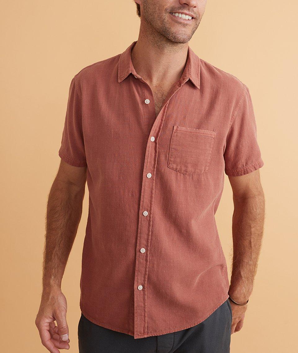 Casual terracotta button-up shirt for men