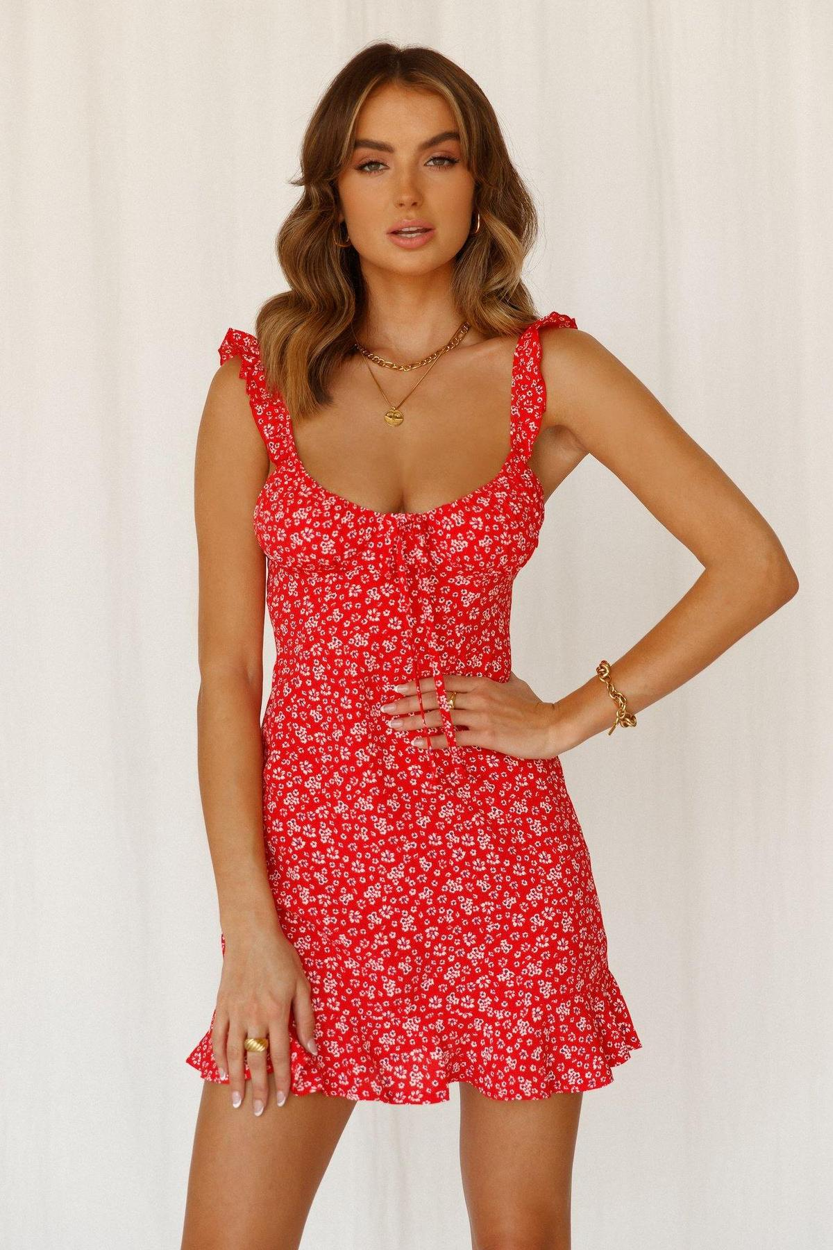 Ditsy red floral dress