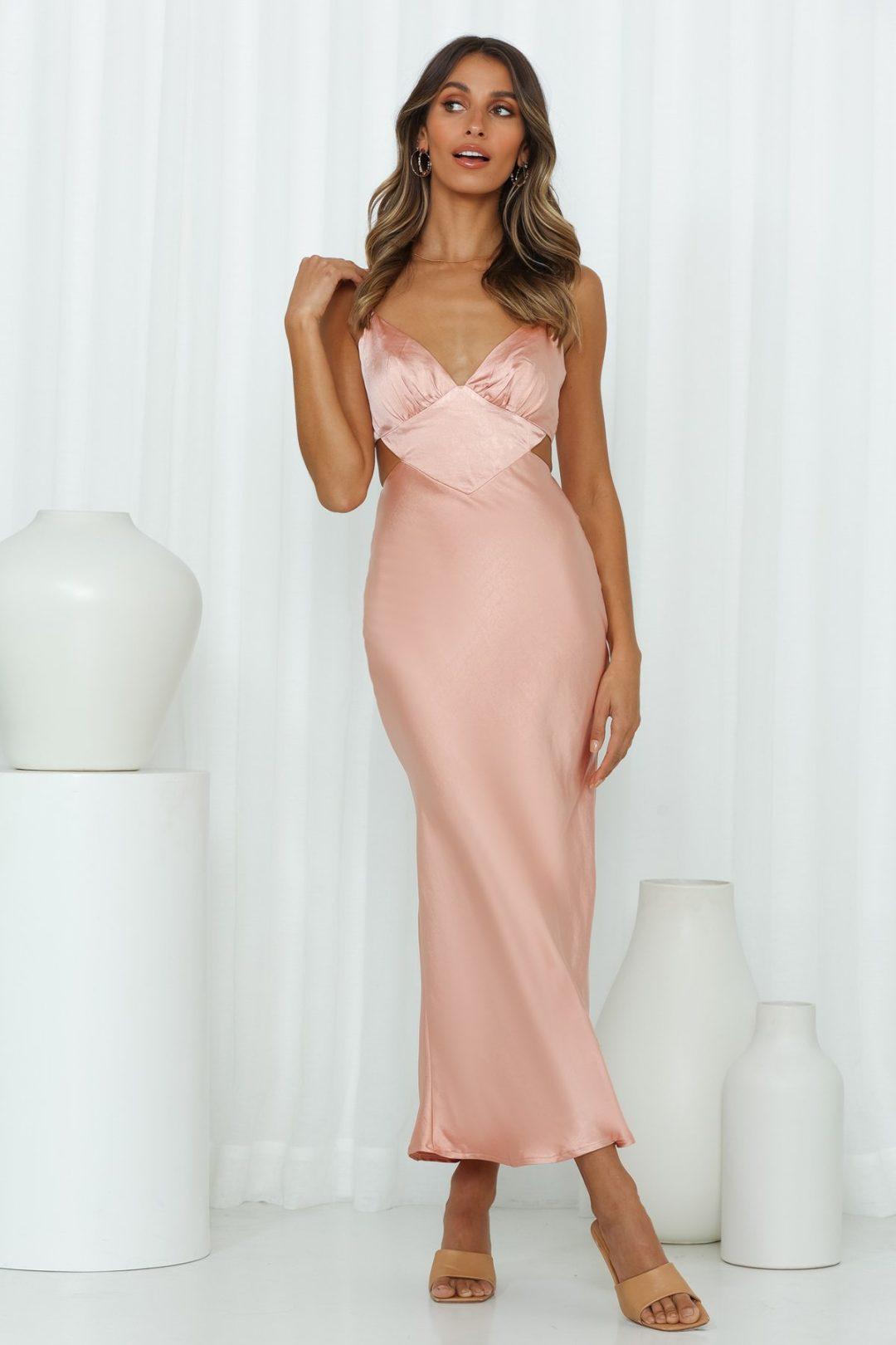 Dusty pink satin cutout maxi dress