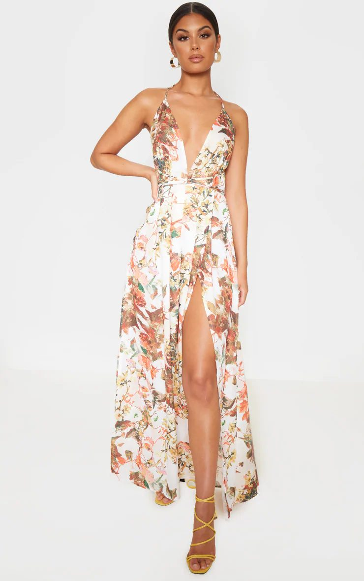 Patterned maxi dress with split