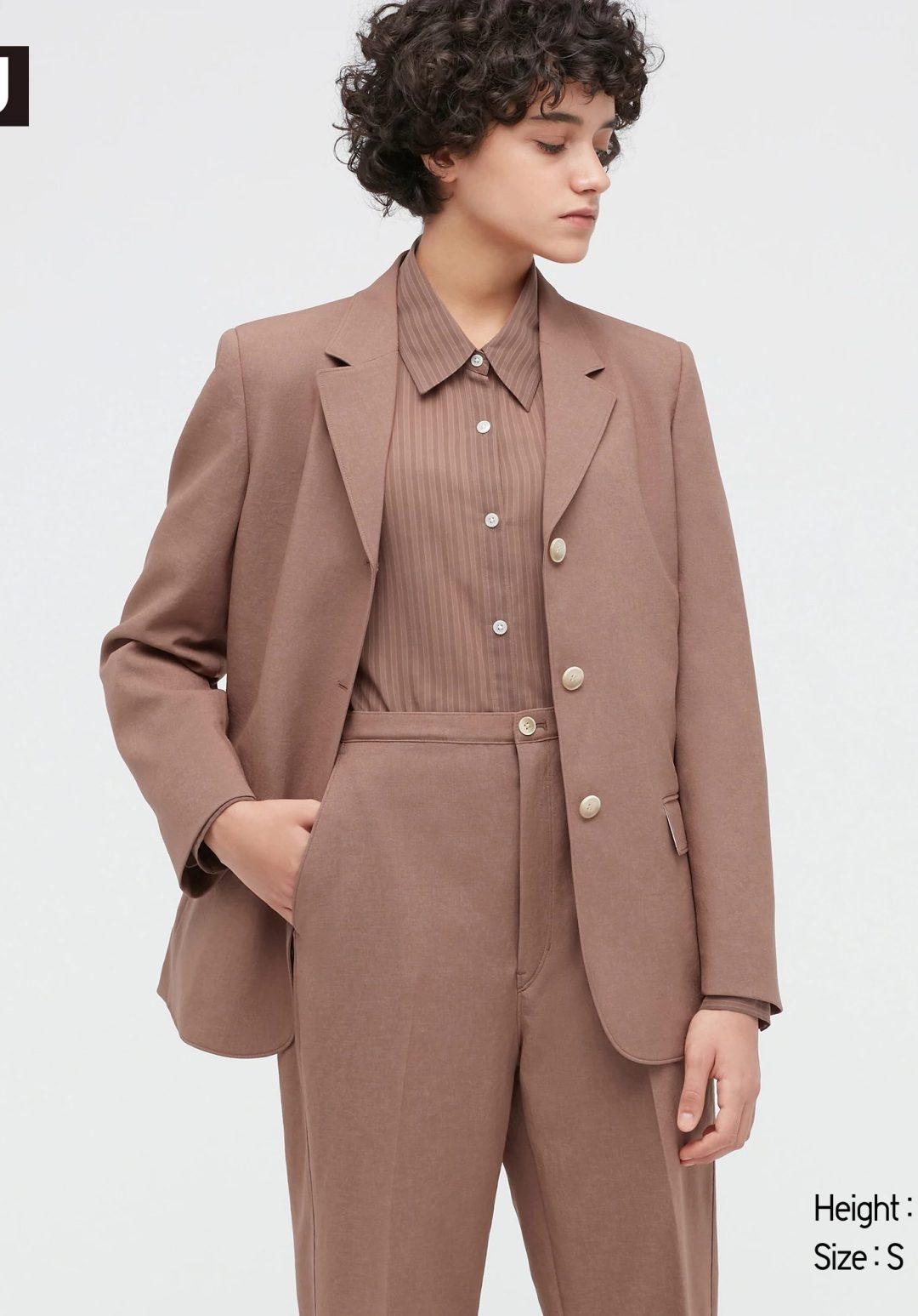 Brown tailored blazer suit