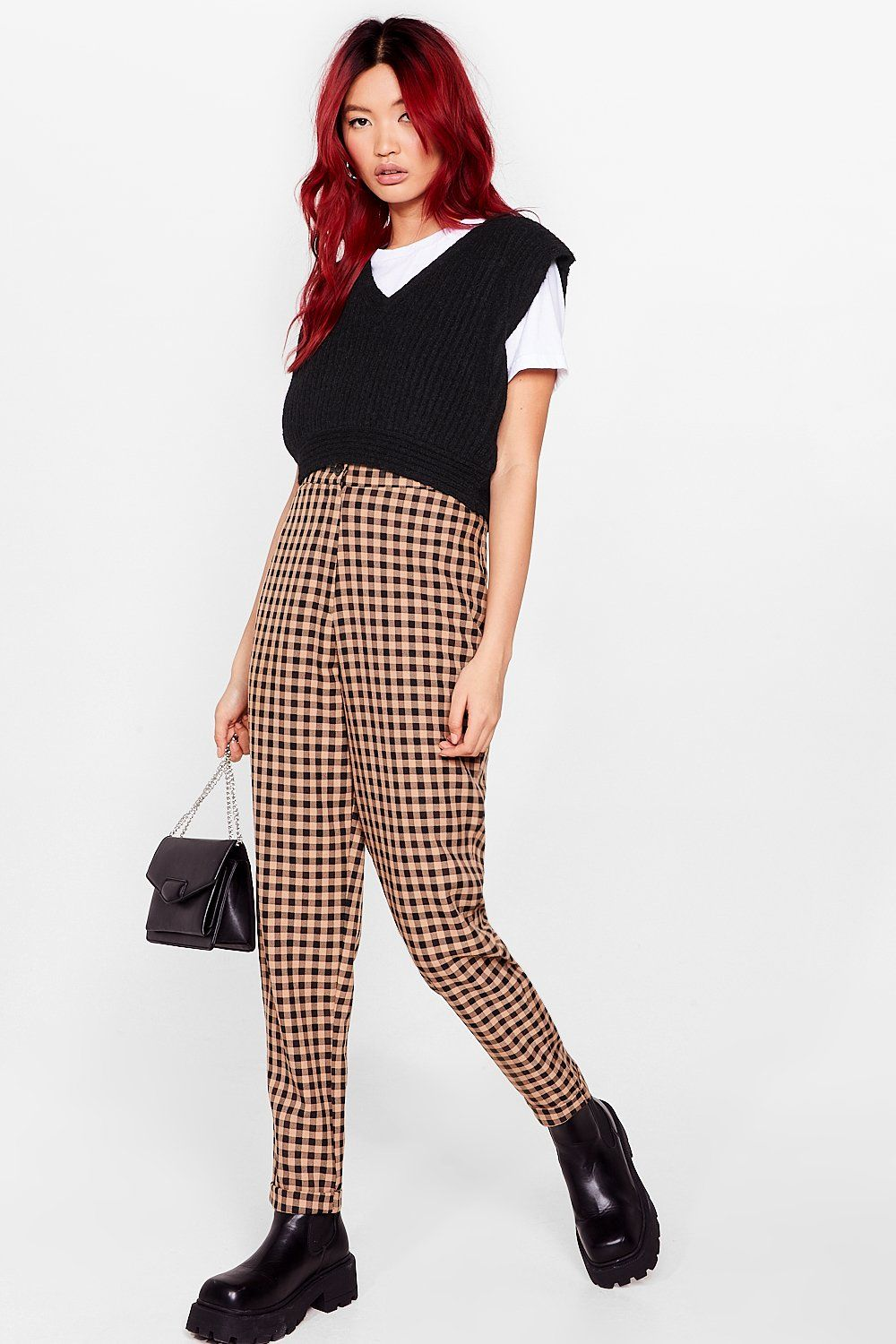 Plaid tailored pants for dark academia outfits