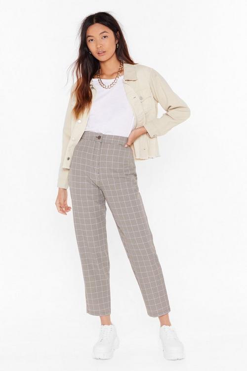 Plaid tartan pants with light cream denim jacket