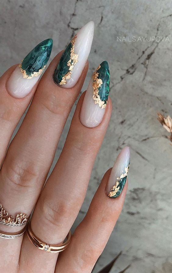 White and jade geode nails with gold flakes
