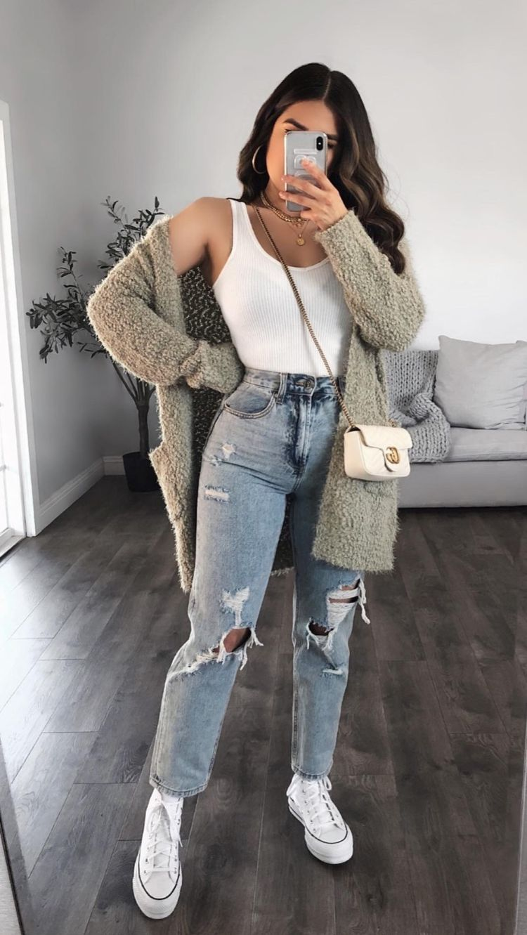 Simple white strappy top with gray cardigan and ripped jeans for back to school outfits
