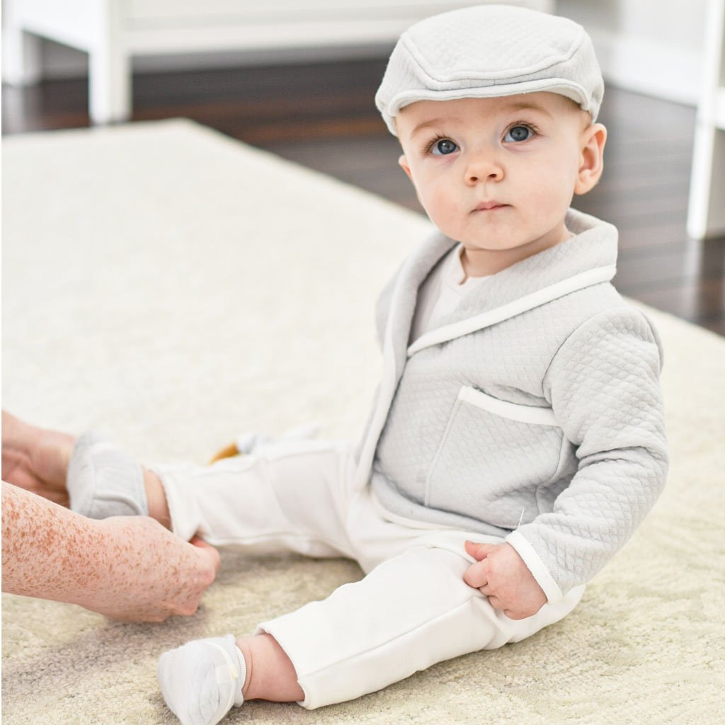 Cute light grey baby boy suit with hat