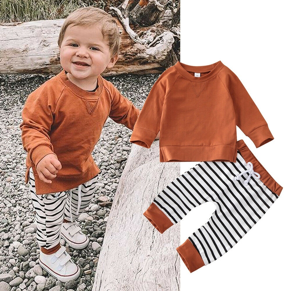 Cute striped pants and brown sweatshirt for baby boys