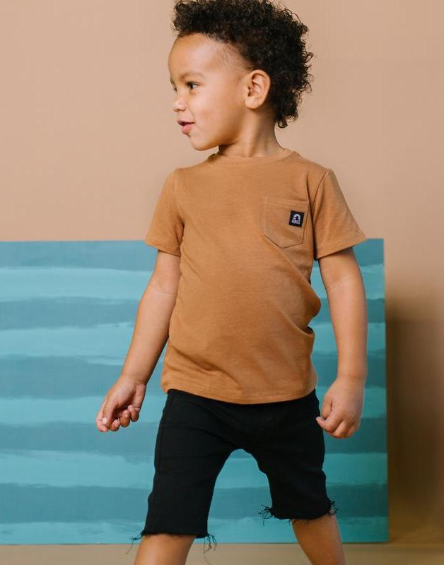 Cute casual outfits for baby boys with camel t-shirt and black shorts