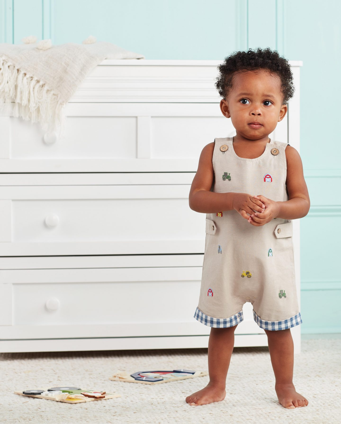 Cute beige overalls for baby boys