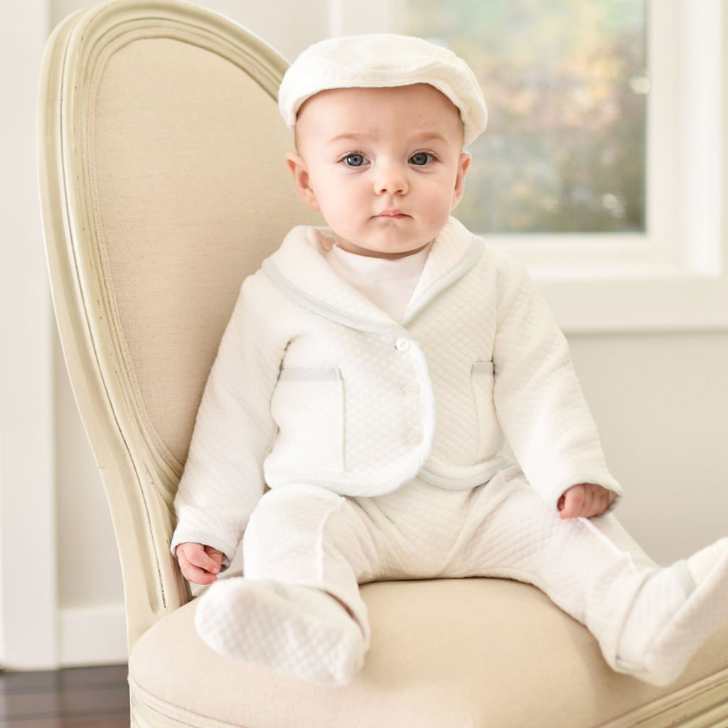 Dapper 3-piece white suit for baby boys - cute baby boy outfit