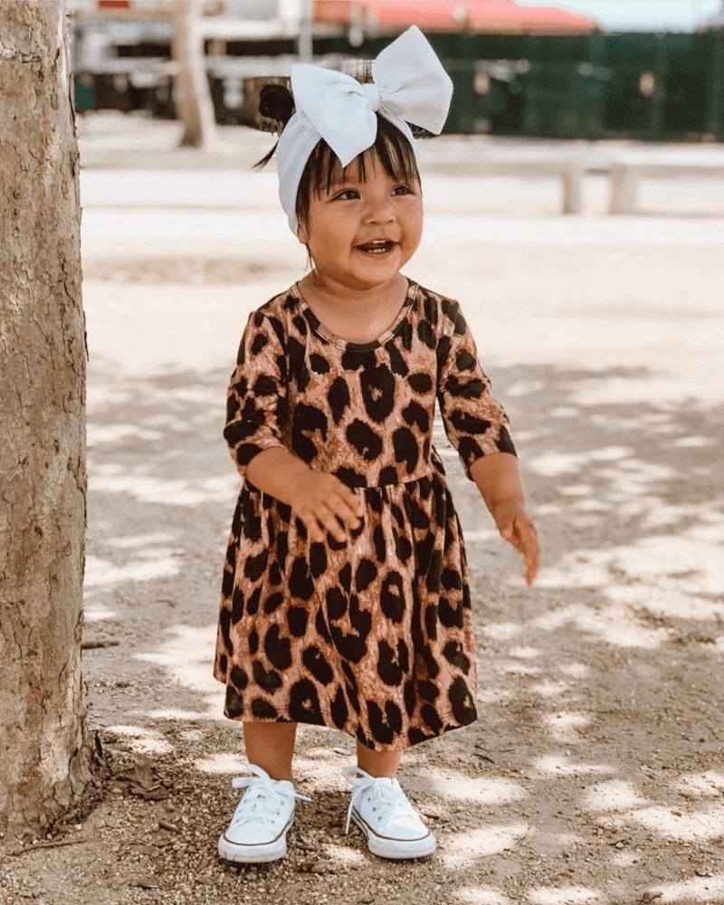 Cute leopard print dress for baby girls