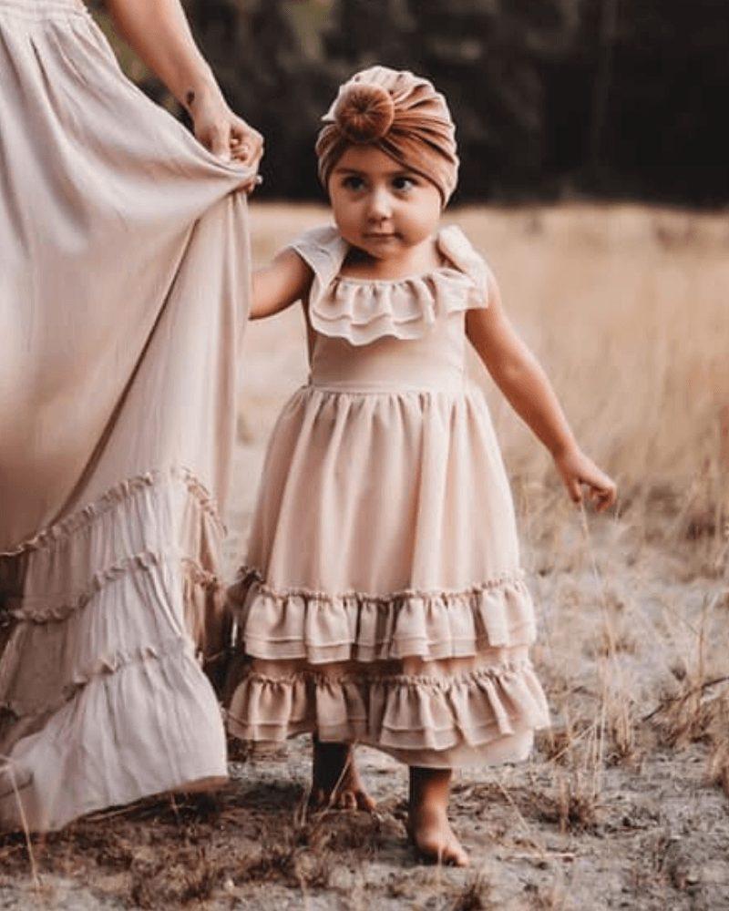 Beige ruffle dress for baby girls